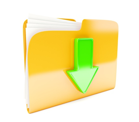 file share: yellow folder 3d icon with green arrow  download sign  isolated on white