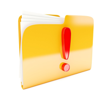 yellow folder 3d icon with red exclamation mark isolated on white photo