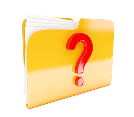 yellow folder 3d icon with red question mark isolated on white photo