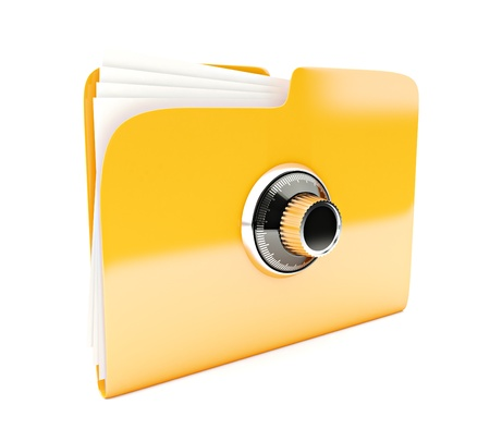 yellow folder 3d icon with combination lock isolated on white photo