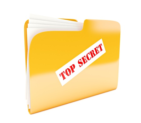 yellow folder 3d icon with Top secret label isolated on white photo