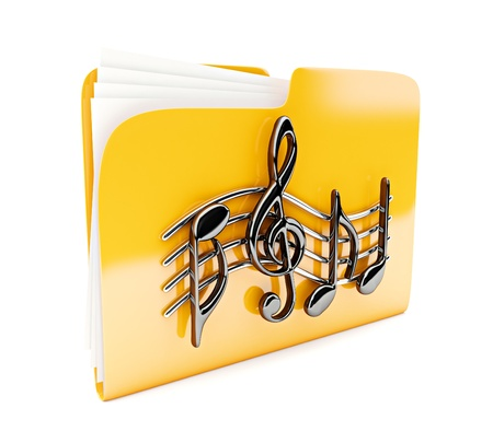 yellow folder 3d icon with musical notes isolated on white photo