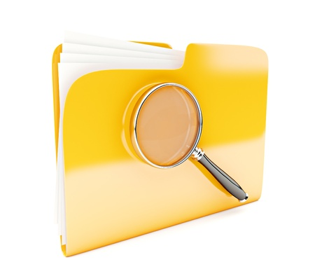 yellow folder 3d icon with magnifier isolated on white photo