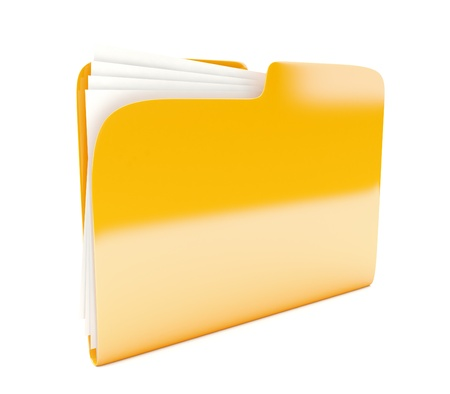 folder with documents: yellow folder 3d icon  isolated on white Stock Photo