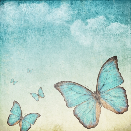watercolor paper: Vintage background with a blue butterfly