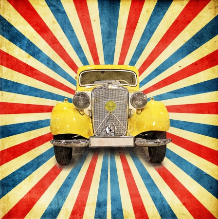 vintage background with retro car Stock Photo - 14530527