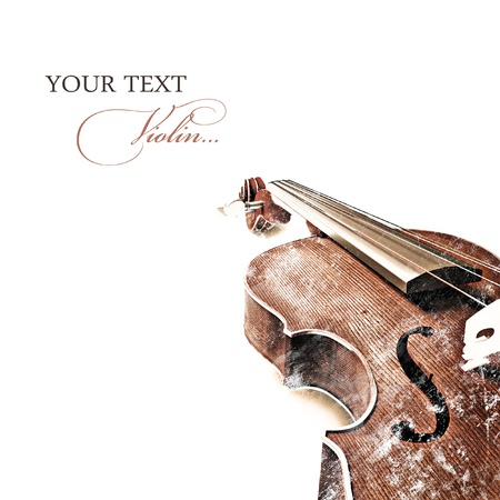 orchestra: Vintage background with old violin