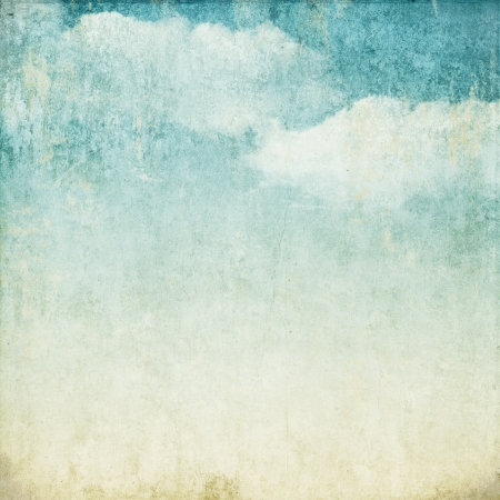 watercolor paper: Vintage background in the blue shade with clouds Stock Photo