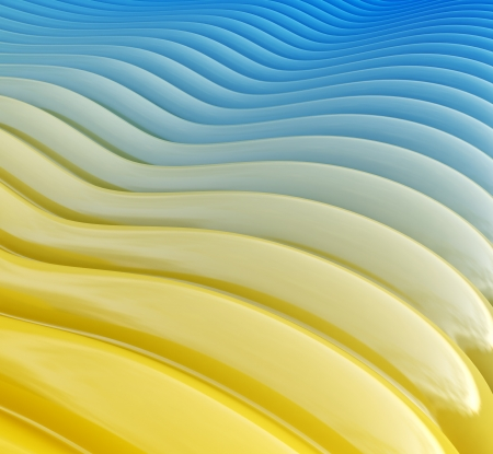 deformation: abstract background of a geometric shape in blue and yellow tones