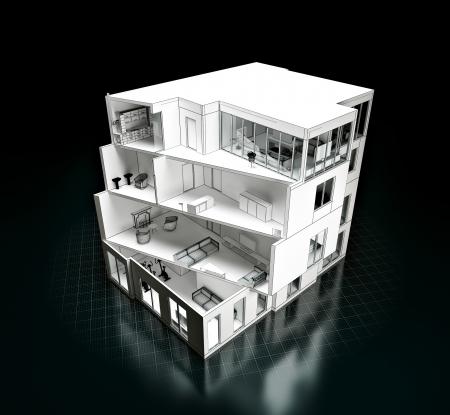 cutaway drawing: 3D rendering di un progetto modello di casa in una architettura taglio