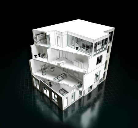 apartment building: 3D rendering of a house project  Model in a cut  architecture Stock Photo