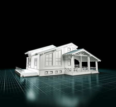 exteriors: 3D rendering of a house project   Architecture