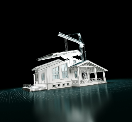 3D rendering of a house project  Building construction photo