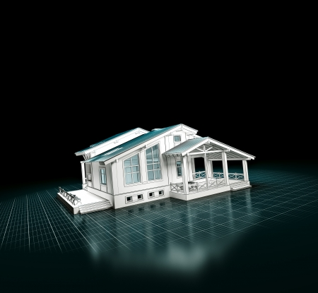 building blueprint: 3D rendering of a house project   Architecture