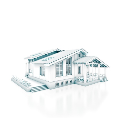 built: 3D rendering of a house project isolated on white