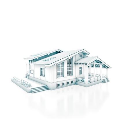 bocetos de personas: Representaci�n 3D de un proyecto de la casa aislada en blanco Foto de archivo