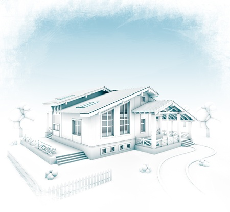 3D rendering of a house project stylized at hand-drawing photo