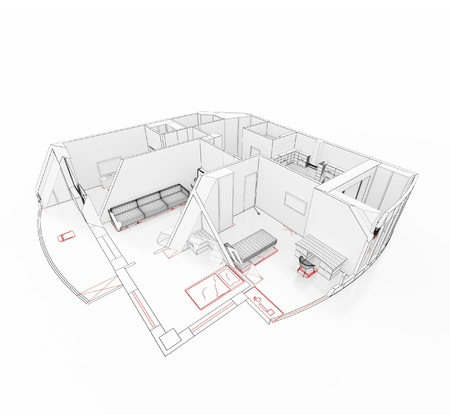 cutaway: 3d model of an apartment on a drawing in a cut  Isolated