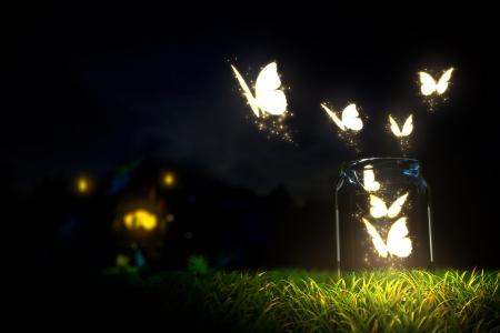 마법의 나비는 유리 항아리에서 벗어