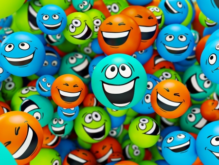 cartoon rainbow: Funny colorful smiles. Positive emotions