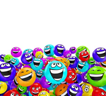people laughing: Funny colorful smiles. Positive emotions