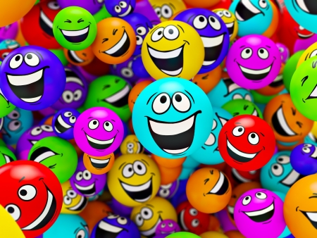 happiness: Divertidas sonrisas llenas de color. Las emociones positivas Foto de archivo