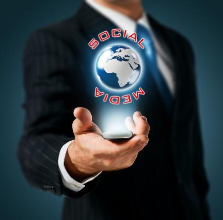Mobile global social network Stock Photo - 15154556