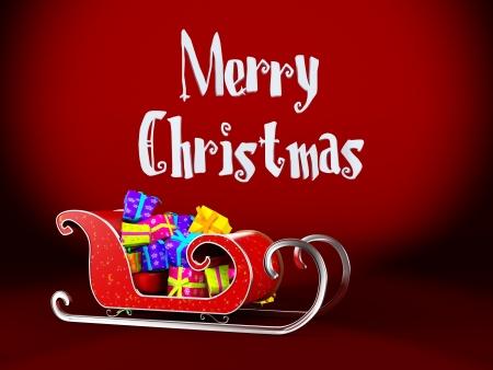 magic box: Christmas Santa sledge on a red  background Stock Photo