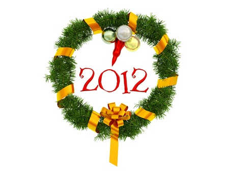 Christmas Wreath on a white background photo