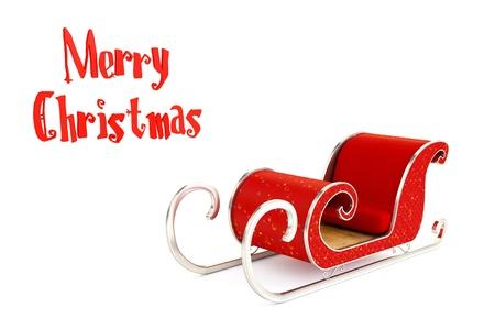 Christmas Santa sledge on a white   background Stock Photo