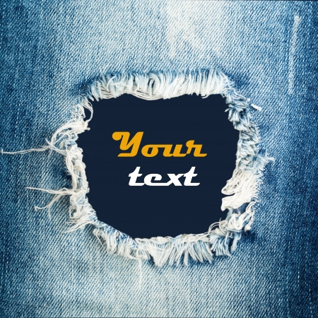 denim: Blue torn denim jeans texture with space for text Stock Photo