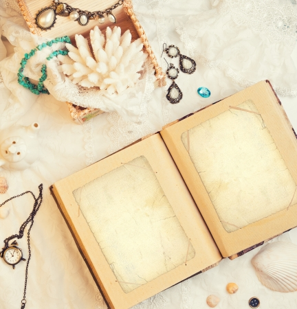 vanil: vintage background with a photo album Stock Photo