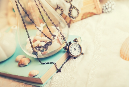 jewellery box: Vintage background with watch Stock Photo