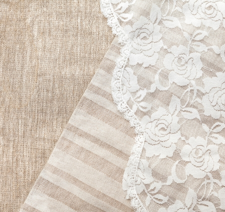 burlap sack: light natural linen background with lace