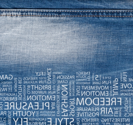 jeans fabric: Blue denim jeans texture with text