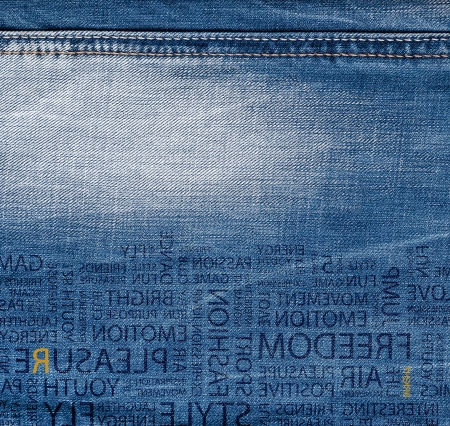 suture: Blue denim jeans texture with text