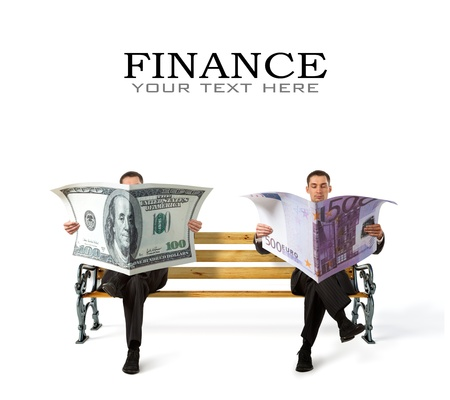 Business People sitting on a bench with currency in hands photo