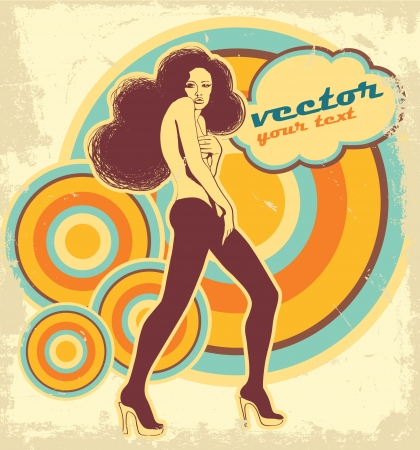 Woman on the poster of retro style. Disco Vector