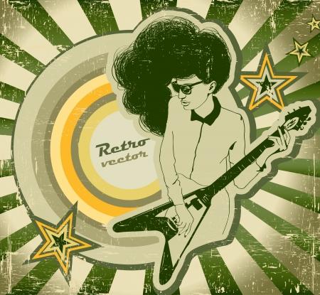 femme avec guitare: Femme � la guitare sur l'affiche de style r�tro Illustration