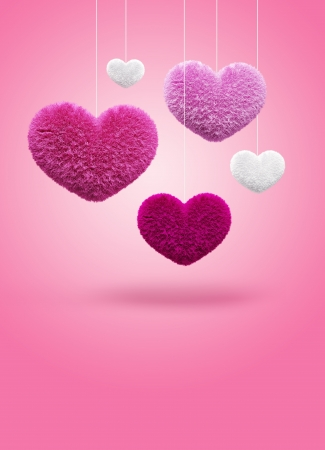 Fluffy hearts  Valentine s day Stock Photo