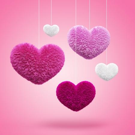 románc: Bolyhos szívek Valentine Stock fotó