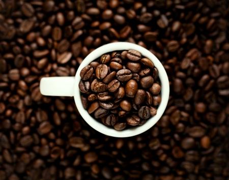 granos de cafe: Primer de los granos de café en la taza blanca