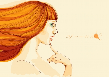red haired girl: Drawing of a beautiful young girl Stock Photo