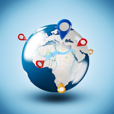 Street Map with GPS Icons  Global Navigation Stock Photo - 17960576