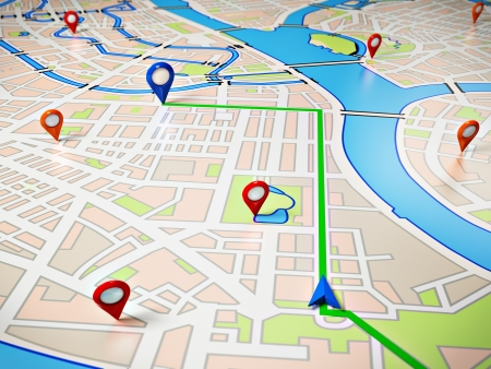 Street Map with GPS Icons  Navigation