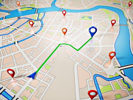 route map: Street Map with GPS Icons  Navigation