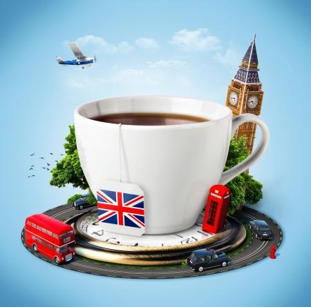 bandera inglaterra: Tradicional té de la tarde y los símbolos famosos de Inglaterra. Turismo