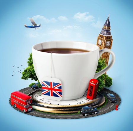 in english: Traditional afternoon tea and famous symbols of England. Tourism Stock Photo