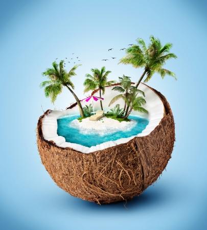 noix de coco: �le tropicale de noix de coco. Voyager, vacances Banque d'images