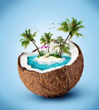 travel collage: tropical island in coconut. Travelling, vacation